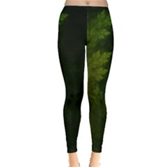 Beautiful Fractal Pines In The Misty Spring Night Leggings  by jayaprime