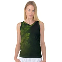 Beautiful Fractal Pines In The Misty Spring Night Women s Basketball Tank Top by jayaprime