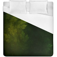 Beautiful Fractal Pines In The Misty Spring Night Duvet Cover (king Size) by jayaprime