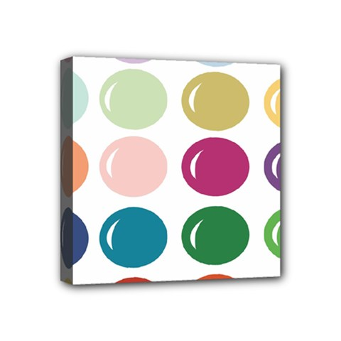 Brights Pastels Bubble Balloon Color Rainbow Mini Canvas 4  X 4  by Mariart