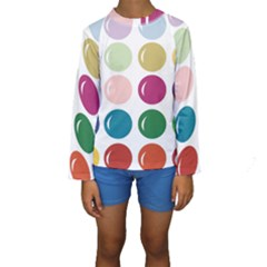 Brights Pastels Bubble Balloon Color Rainbow Kids  Long Sleeve Swimwear by Mariart
