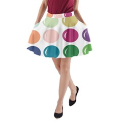 Brights Pastels Bubble Balloon Color Rainbow A Line Pocket Skirt by Mariart