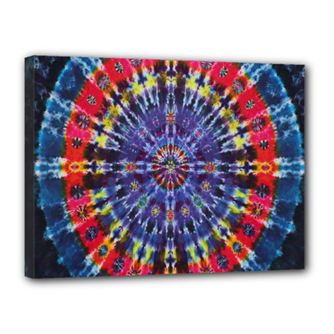 Circle Purple Green Tie Dye Kaleidoscope Opaque Color Canvas 16  X 12  by Mariart