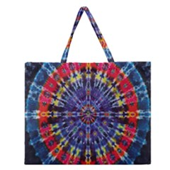 Circle Purple Green Tie Dye Kaleidoscope Opaque Color Zipper Large Tote Bag by Mariart
