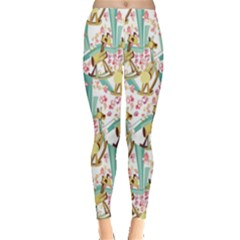 Wooden Gorse Illustrator Photoshop Watercolor Ink Gouache Color Pencil Leggings  by Mariart