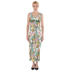 Wooden Gorse Illustrator Photoshop Watercolor Ink Gouache Color Pencil Fitted Maxi Dress by Mariart