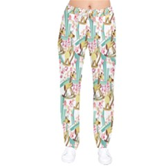 Wooden Gorse Illustrator Photoshop Watercolor Ink Gouache Color Pencil Drawstring Pants by Mariart