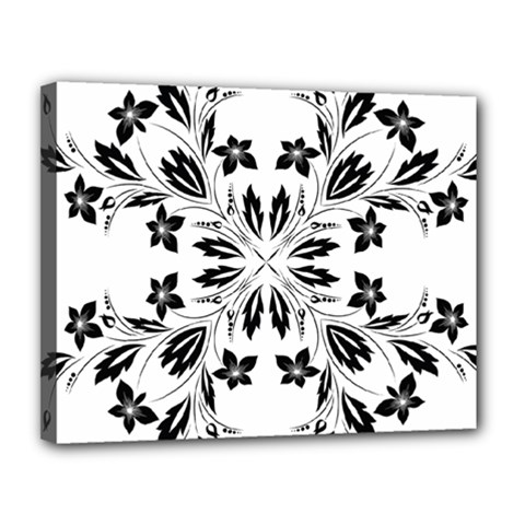 Floral Element Black White Canvas 14  X 11  by Mariart