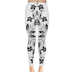 Floral Element Black White Leggings  by Mariart