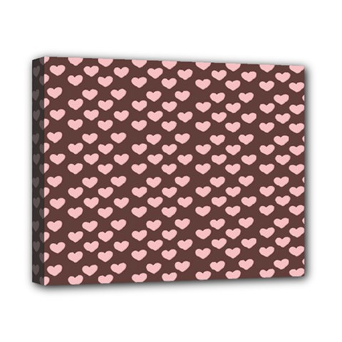 Chocolate Pink Hearts Gift Wrap Canvas 10  X 8  by Mariart