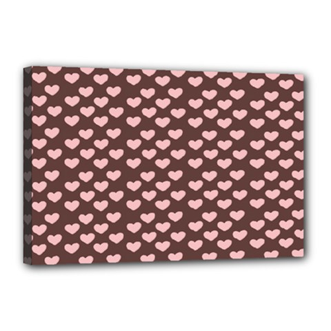 Chocolate Pink Hearts Gift Wrap Canvas 18  X 12  by Mariart
