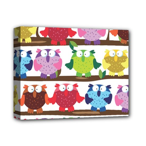 Funny Owls Sitting On A Branch Pattern Postcard Rainbow Deluxe Canvas 14  X 11  by Mariart