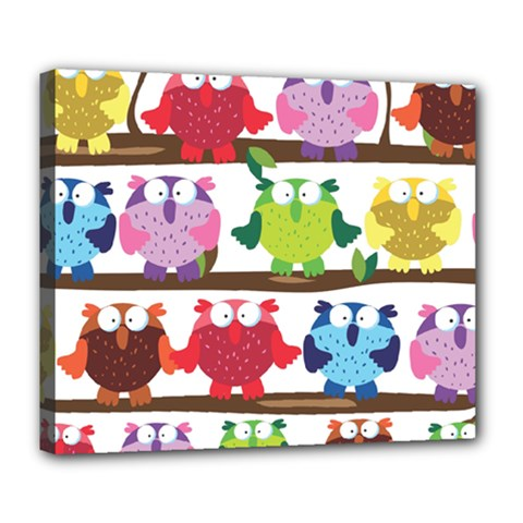 Funny Owls Sitting On A Branch Pattern Postcard Rainbow Deluxe Canvas 24  X 20   by Mariart