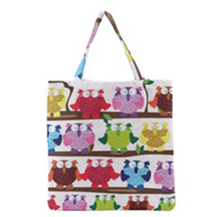 Funny Owls Sitting On A Branch Pattern Postcard Rainbow Grocery Tote Bag by Mariart