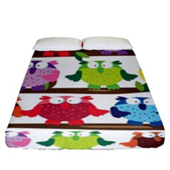 Funny Owls Sitting On A Branch Pattern Postcard Rainbow Fitted Sheet (king Size) by Mariart