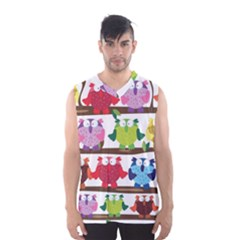 Funny Owls Sitting On A Branch Pattern Postcard Rainbow Men s Basketball Tank Top by Mariart