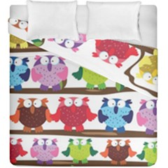 Funny Owls Sitting On A Branch Pattern Postcard Rainbow Duvet Cover Double Side (king Size) by Mariart