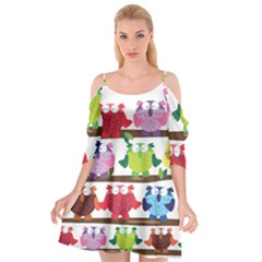 Funny Owls Sitting On A Branch Pattern Postcard Rainbow Cutout Spaghetti Strap Chiffon Dress by Mariart