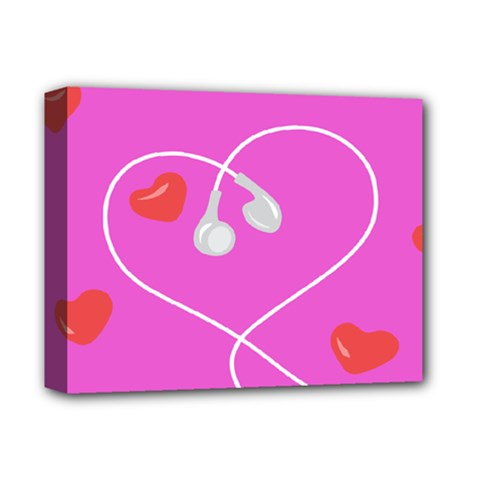 Heart Love Pink Red Deluxe Canvas 14  X 11  by Mariart