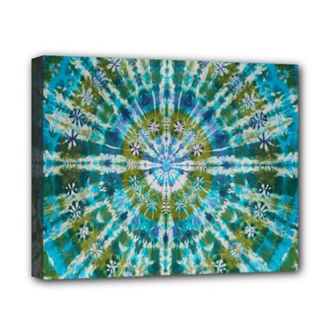 Green Flower Tie Dye Kaleidoscope Opaque Color Canvas 10  X 8  by Mariart