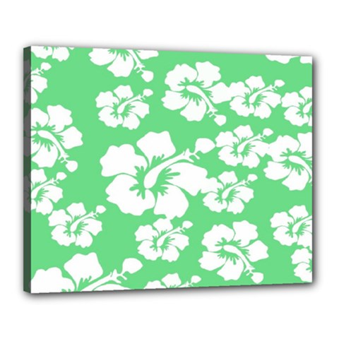 Hibiscus Flowers Green White Hawaiian Canvas 20  X 16  by Mariart
