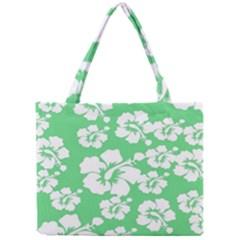 Hibiscus Flowers Green White Hawaiian Mini Tote Bag by Mariart
