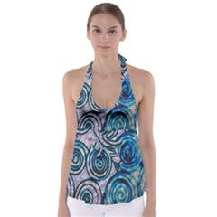 Green Blue Circle Tie Dye Kaleidoscope Opaque Color Babydoll Tankini Top by Mariart