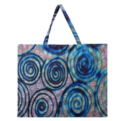 Green Blue Circle Tie Dye Kaleidoscope Opaque Color Zipper Large Tote Bag by Mariart