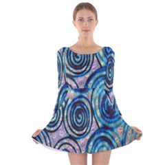 Green Blue Circle Tie Dye Kaleidoscope Opaque Color Long Sleeve Velvet Skater Dress by Mariart