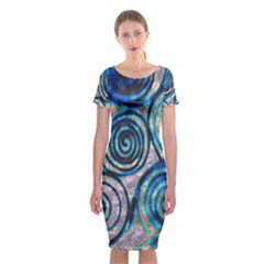Green Blue Circle Tie Dye Kaleidoscope Opaque Color Classic Short Sleeve Midi Dress by Mariart