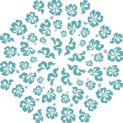 Hibiscus Flowers Green White Hawaiian Blue Folding Umbrellas by Mariart