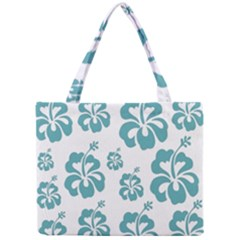 Hibiscus Flowers Green White Hawaiian Blue Mini Tote Bag by Mariart