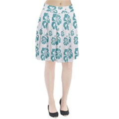 Hibiscus Flowers Green White Hawaiian Blue Pleated Skirt by Mariart