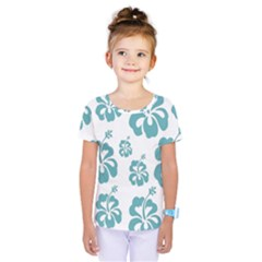 Hibiscus Flowers Green White Hawaiian Blue Kids  One Piece Tee by Mariart