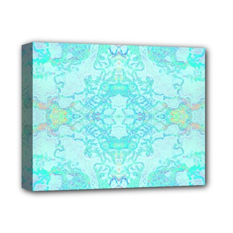 Green Tie Dye Kaleidoscope Opaque Color Deluxe Canvas 14  X 11  by Mariart
