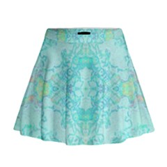 Green Tie Dye Kaleidoscope Opaque Color Mini Flare Skirt by Mariart