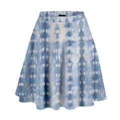 Indigo Grey Tie Dye Kaleidoscope Opaque Color High Waist Skirt by Mariart