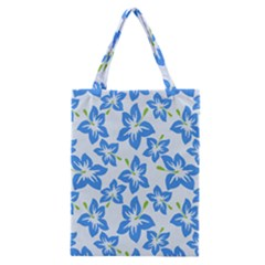 Hibiscus Flowers Seamless Blue Classic Tote Bag by Mariart
