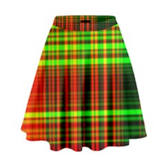 Line Light Neon Red Green High Waist Skirt by Mariart