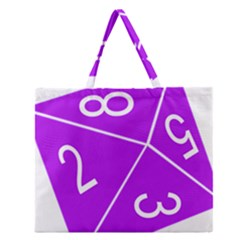 Number Purple Zipper Large Tote Bag by Mariart