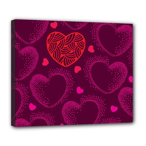 Love Heart Polka Dots Pink Deluxe Canvas 24  X 20   by Mariart