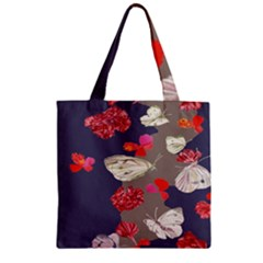 Original Butterfly Carnation Zipper Grocery Tote Bag by Mariart