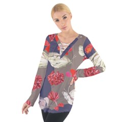 Original Butterfly Carnation Women s Tie Up Tee by Mariart