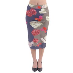 Original Butterfly Carnation Midi Pencil Skirt by Mariart