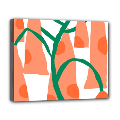 Portraits Plants Carrot Polka Dots Orange Green Deluxe Canvas 20  X 16   by Mariart