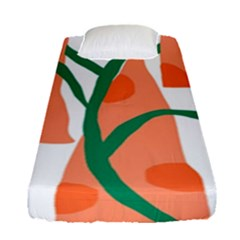 Portraits Plants Carrot Polka Dots Orange Green Fitted Sheet (single Size) by Mariart