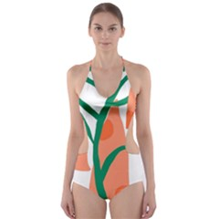 Portraits Plants Carrot Polka Dots Orange Green Cut-Out One Piece Swimsuit