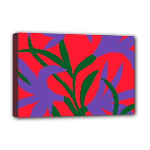 Purple Flower Red Background Deluxe Canvas 18  X 12   by Mariart