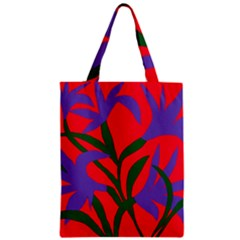 Purple Flower Red Background Zipper Classic Tote Bag by Mariart