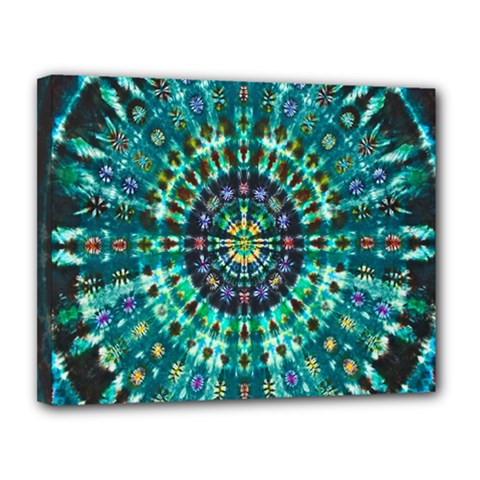 Peacock Throne Flower Green Tie Dye Kaleidoscope Opaque Color Canvas 14  X 11  by Mariart